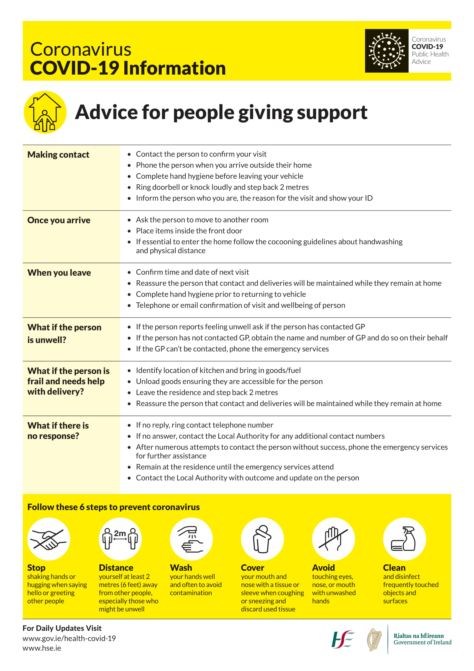 Advice for people giving support during COVID-19