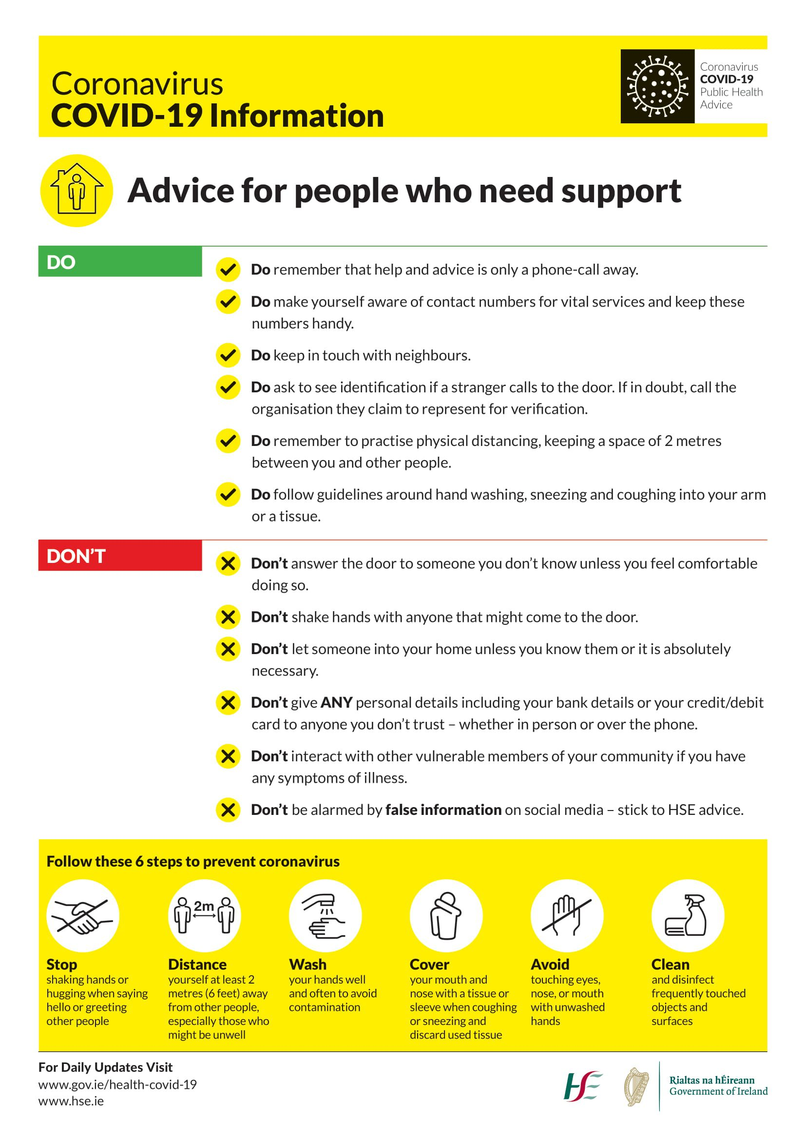 Advice for people who need support during COVID-19
